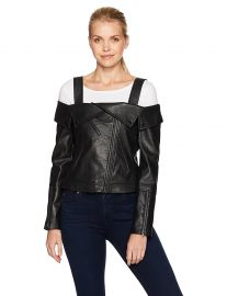 BCBGMAXAZRIA Women s Clyde Knit Off The Shoulder Pleather Jacket at Amazon