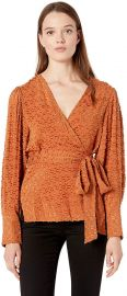 BCBGMAXAZRIA Women s Pleated Shoulder Wrap Top at Amazon