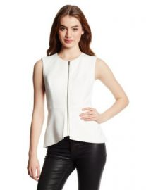 BCBGMAXAZRIA Womenand39s Abrielle Sleeveless Peplum Top White X-Small at Amazon