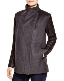 BCBGMAXAZRIA Wool Coat with Leather Sleeves at Bloomingdales