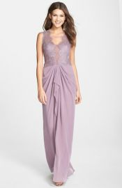 BCBGMAXAZRIA and39Brandyand39 Lace andamp Georgette Gown at Nordstrom