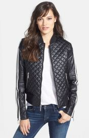 BCBGMAXAZRIA and39Morganand39 Quilted Faux Leather Bomber Jacket at Nordstrom