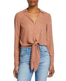 BCBGeneration Metallic Star Tie-Front Blouse at Last Call