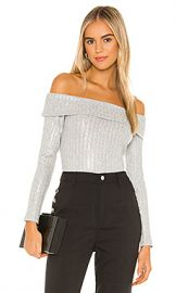 BCBGeneration Off The Shoulder Knit Top in Metallic Multi Combo from Revolve com at Revolve