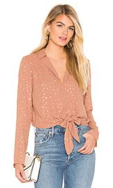 BCBGeneration Tie Front Star Top in Dusty Pink from Revolve com at Revolve