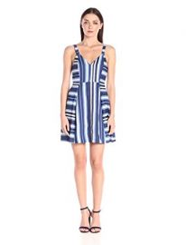BCBGeneration Women s Nautical Print Fit-and-Flare Dress at Amazon