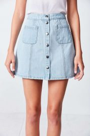 BDG Denim Button-Front Skirt in Light Blue at Urban Outfitters