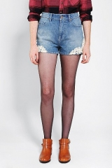 BDG Erin High-Rise Denim Short - Lace Embroidered at Urban Outfitters