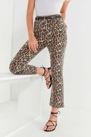 BDG Kick Flare High-Rise Cropped Jean – Leopard at Urban Outfitters