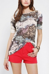 BDG Printed 34 Sleeve Boatneck Tee at Urban Outfitters