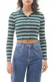 BDG Urban Outfitters Stripe Ribbed Cotton Crop Top   Nordstrom at Nordstrom