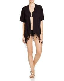 BECCA by Rebecca Virtue Venise Fringe Kimono Swim Cover Up in Black at Bloomingdales