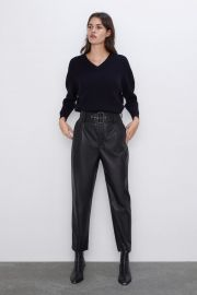 BELTED FAUX LEATHER PANTS at Zara