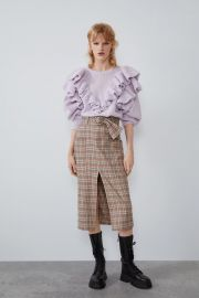 BELTED PLAID SKIRT at Zara