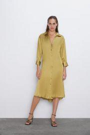 BELTED SATIN EFFECT DRESS at Zara