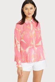 BETH PLEATED STENCIL FLORAL PRINT TOP at Milly