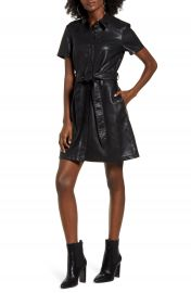 BLANKNYC Belted Faux Leather Shirtdress   Nordstrom at Nordstrom