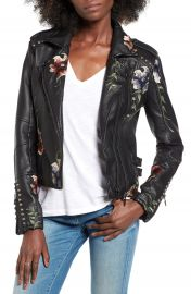 BLANKNYC Embroidered Faux Leather Moto Jacket at Nordstrom