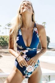 BLUE FLORAL STRAPPY ONE-PIECE SWIMSUIT at Cupshe