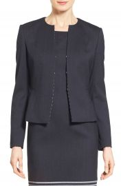 BOSS   x27 Jafila  x27  Collarless Wool Suit Jacket   Nordstrom at Nordstrom