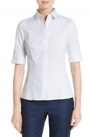 BOSS Bashini 2 Stripe Poplin Fitted Blouse  Regular  amp  Petite    Nordstrom at Nordstrom
