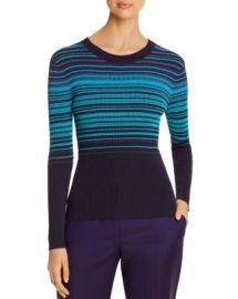 BOSS Fadeira Ribbed Metallic-Stripe Sweater Women - Bloomingdale s at Bloomingdales
