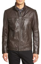 BOSS Leather Racer Jacket at Nordstrom