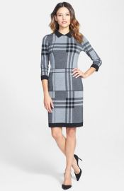BOSS Plaid Wool Blend Sweater Dress at Nordstrom