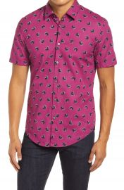 BOSS Ronn Slim Fit Leaf Print Short Sleeve Button-Up Shirt   Nordstrom at Nordstrom