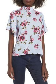 BP. Floral Print Mock Neck Blouse at Nordstrom Rack