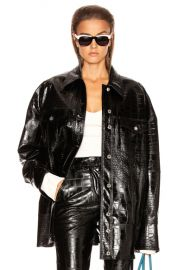 BROGNANO Crocodile Print Jacket in Black   FWRD at Forward