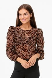 BROWN LEOPARD PUFF SLEEVE BURNOUT TOP at TuckerNuck