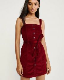 BUTTON-UP CORDUROY PINAFORE DRESS at Abercrombie & Fitch