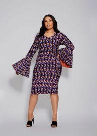 BUY BELL SLEEVE CHAIN PRINT DRESS MULTI at Ashley Stewart