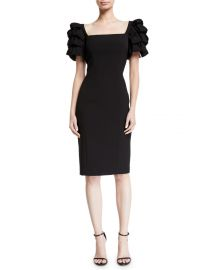 Badgley Mischka Collection Square-Neck Cocktail Dress w  Looped Sleeves at Neiman Marcus