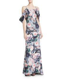Badgley Mischka Collection Tie-Sleeve Floral-Print Long Gown x at Neiman Marcus
