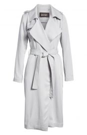 Badgley Mischka Faux Leather Trim Long Trench Coat   Nordstrom at Nordstrom