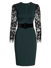 Badgley Mischka - Lace-Sleeve Scuba Dress at Saks Fifth Avenue