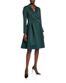 Badgley Mischka Collection Double-Breasted Scuba Dress at Neiman Marcus