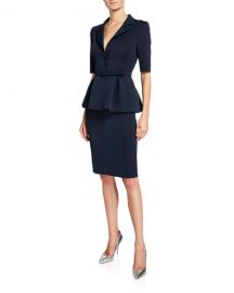 Badgley Mischka Collection Elbow-Sleeve Retro Peplum Coat Dress at Neiman Marcus