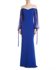 Badgley Mischka Collection Off-the-Shoulder Gown w  Balloon Sleeves at Neiman Marcus