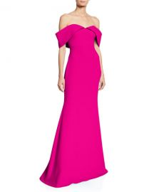 Badgley Mischka Collection Off-the-Shoulder Short-Sleeve Mermaid Gown at Neiman Marcus