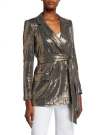 Badgley Mischka Collection Sequin Long-Sleeve Belted Smoking Jacket at Neiman Marcus