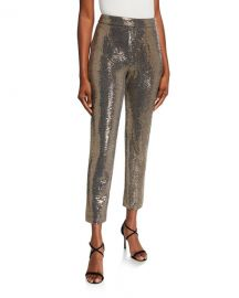 Badgley Mischka Collection Sequin Straight-Leg Pants at Neiman Marcus