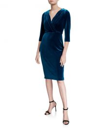Badgley Mischka Collection V-Neck 1 2-Sleeve Velvet Cocktail Dress at Neiman Marcus