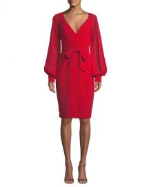 Badgley Mischka Collection V-Neck Blouson-Sleeve Faux-Wrap Cocktail Dress at Neiman Marcus