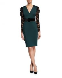 Badgley Mischka Collection V-Neck Lace-Sleeve Belted Scuba Combo Dress at Neiman Marcus