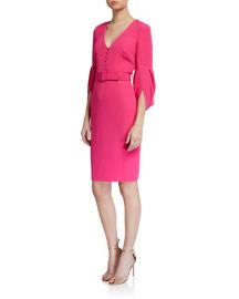 Badgley Mischka Collection V-Neck Tulip-Sleeve Belted Sheath Dress at Neiman Marcus