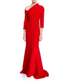 Badgley Mischka Couture One-Shoulder Crepe Gown with Structured Neckline at Neiman Marcus
