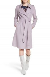 Badgley Mischka Double Face Wool Blend Wrap Front Coat  Regular  amp  Petite at Nordstrom